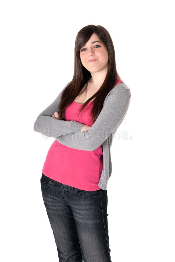 女性查出的满足的年轻人 免版税库存图片