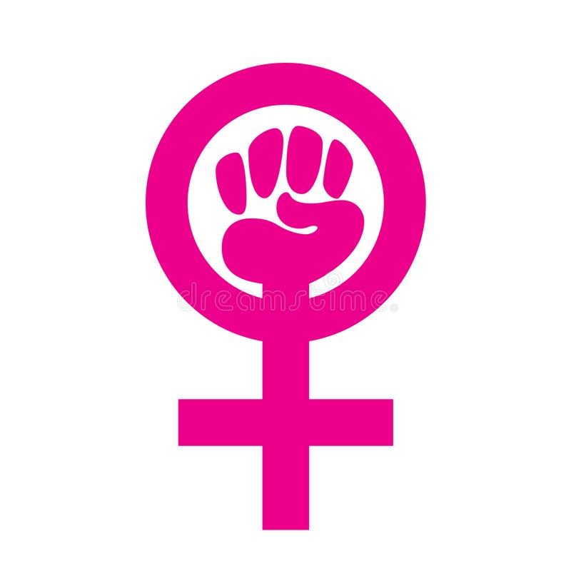 女性标志拳头有白色背景 向量例证