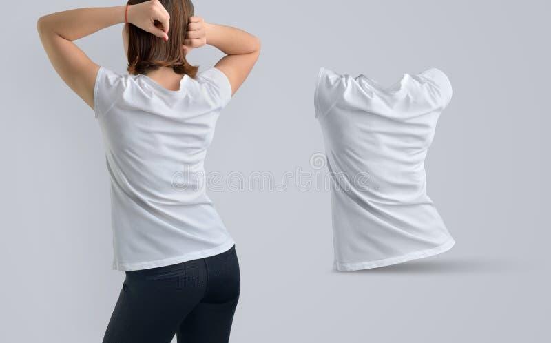 女性模板设置了与白色T恤杉的a亭亭玉立的少妇 库存图片