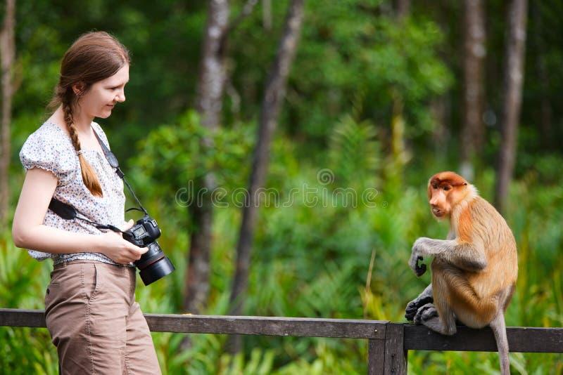 女性猴子摄影师象鼻 免版税库存照片
