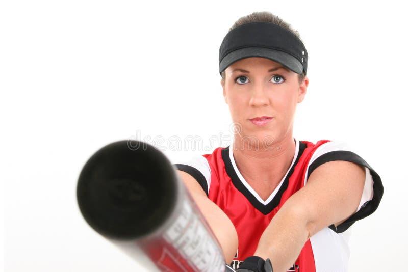 女性球员垒球 免版税库存照片