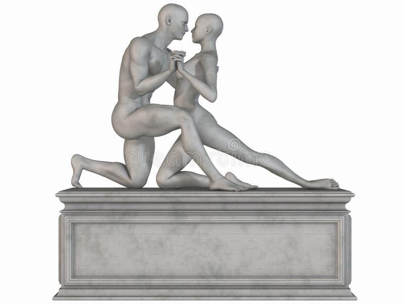 女性男性雕象石头 向量例证