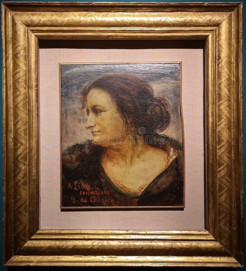 女性画象,绘乔治・德・基里科 免版税图库摄影