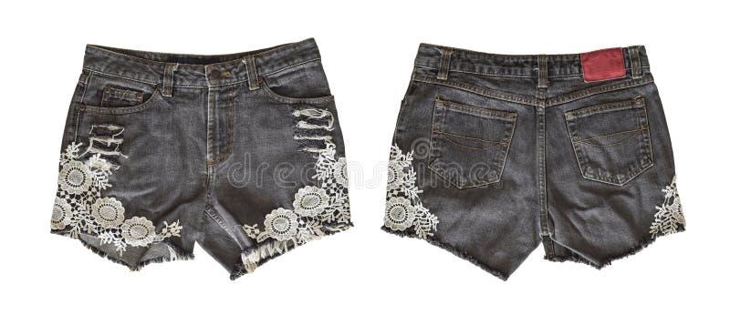 女性的牛仔布短裤 免版税图库摄影
