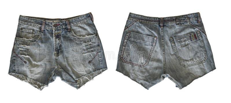女性的牛仔布短裤 免版税库存图片