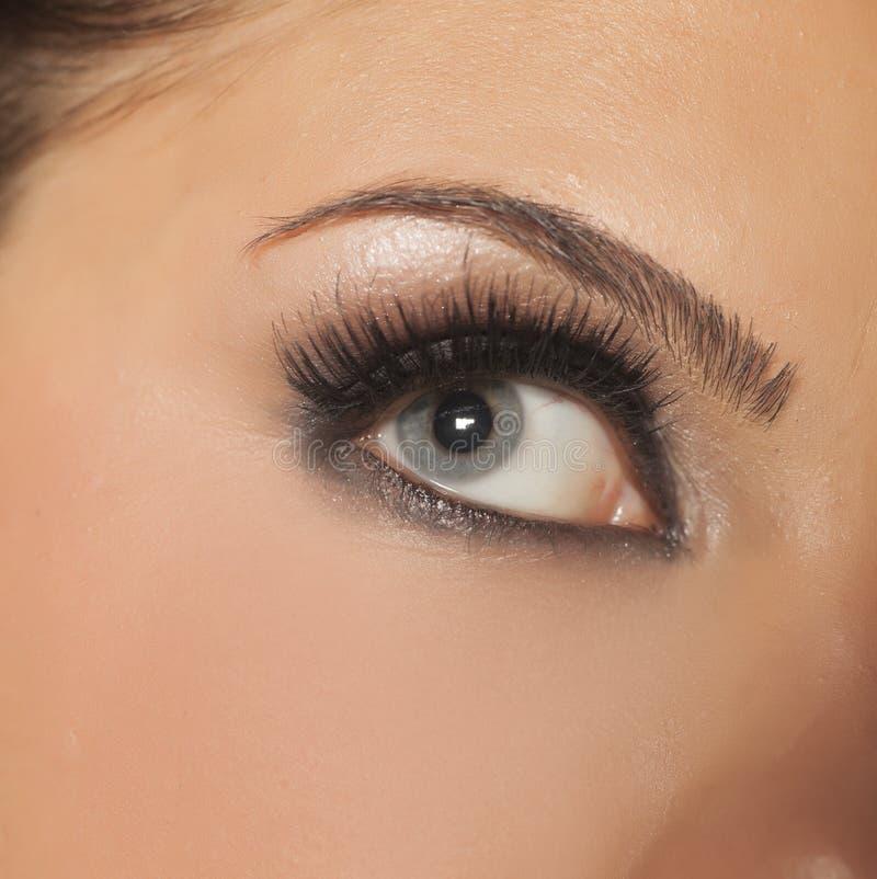 女性眼睛和延长的睫毛 库存照片