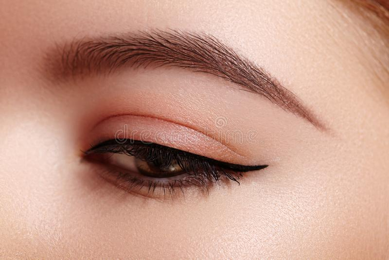 女性眼睛美丽的宏观射击与经典眼线膏构成的 眼眉完善的形状  化妆用品和构成 免版税图库摄影