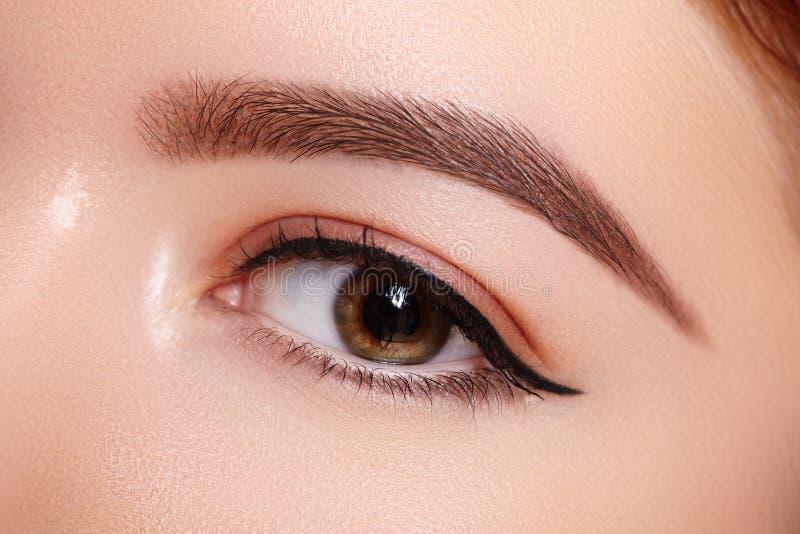 女性眼睛美丽的宏观射击与经典眼线膏构成的 眼眉完善的形状  化妆用品和构成 免版税库存图片