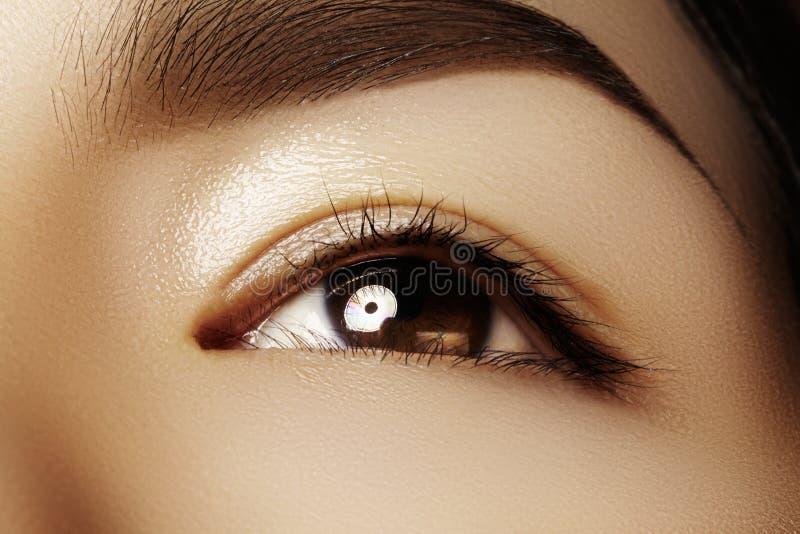 女性眼睛美好的宏指令与干净的构成的 完善的形状眼眉 化妆用品和构成 关于眼睛的关心 库存照片