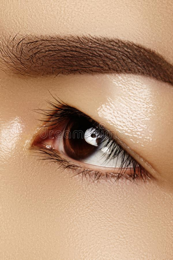 女性眼睛美好的宏指令与经典干净的构成的 完善的形状眼眉 化妆用品和构成 关于眼睛的关心 库存图片