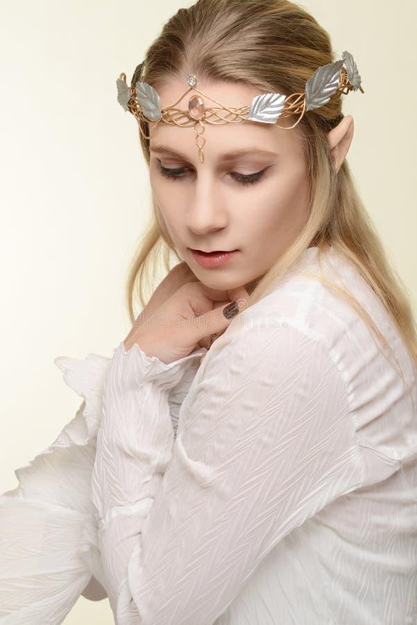 女性矮子画象与金子的和银加冠 库存照片
