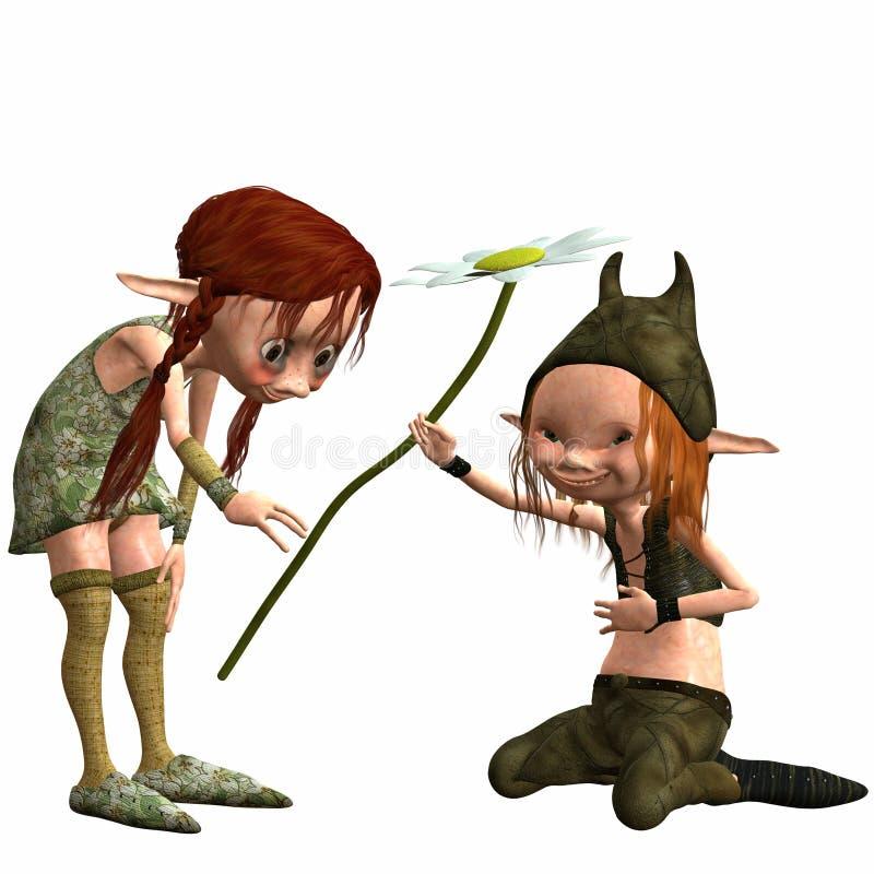 女性矮小的男性拖钓 库存例证