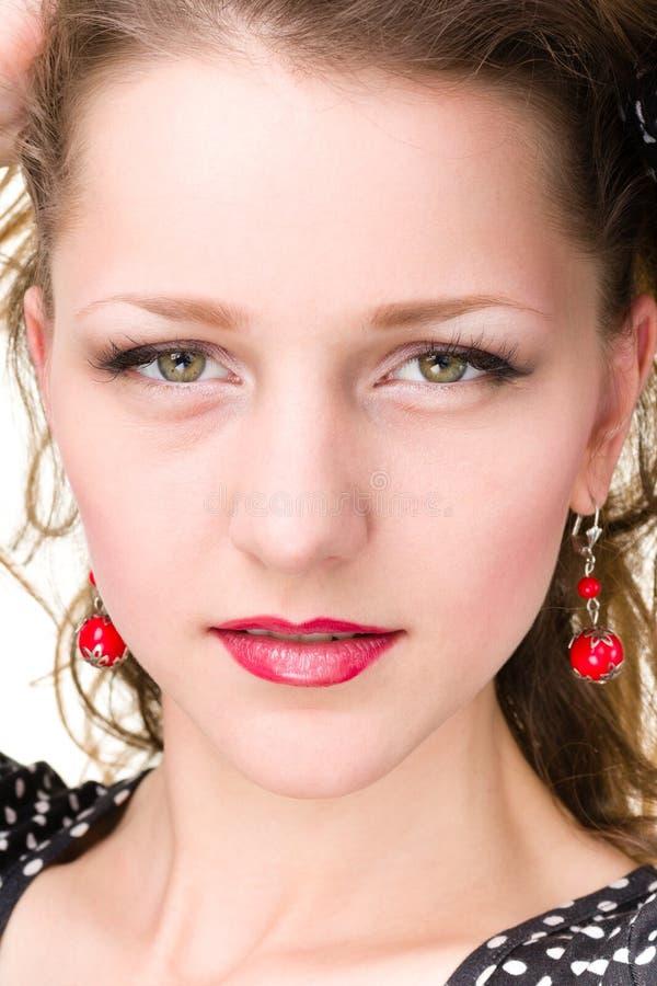 惊人的美丽的白种人妇女面孔特写镜头  库存图片