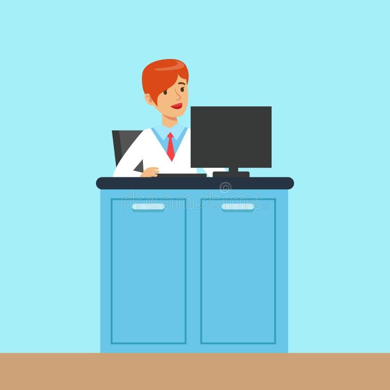 女性科学家工作在一台计算机的在实验室,科学实验室科学中心内部的管理员  向量例证