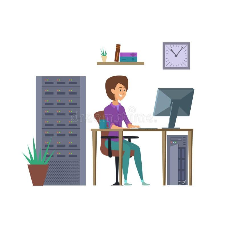 女性程序员传染媒介 IT与计算机例证的开发商字符 向量例证