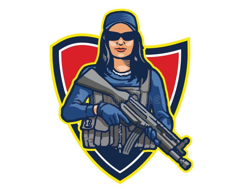 女性精华特种部队操作员运载的攻击浅滩动画片吉祥人商标徽章 库存例证