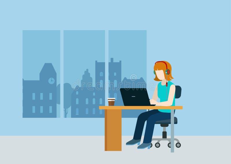 女性网设计师程序员编码人支持电话中心 皇族释放例证