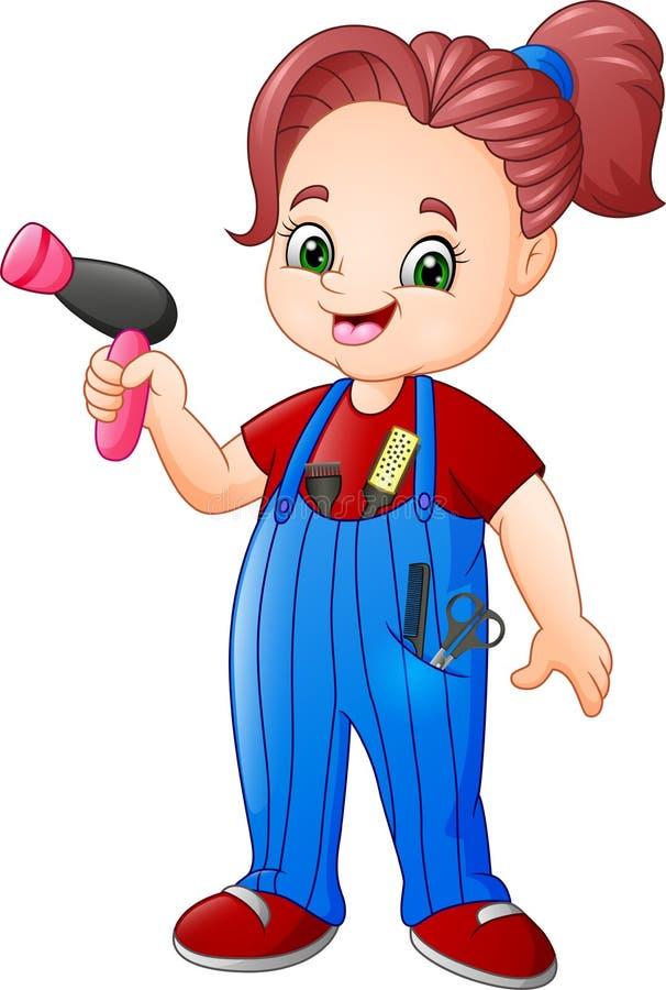 女性美发师与吹风器和剪刀一起使用 库存例证