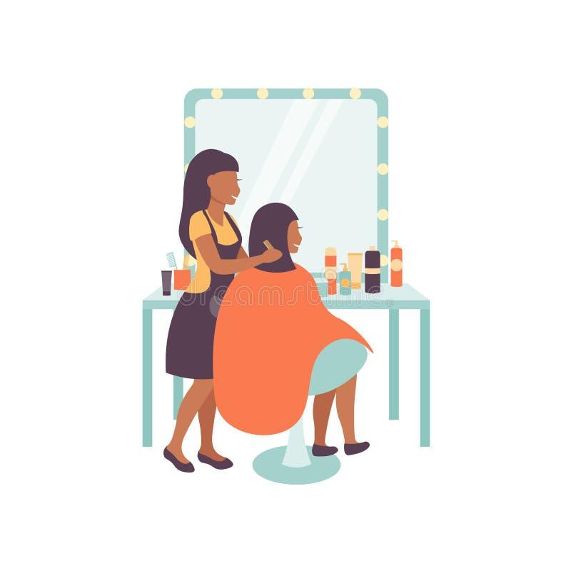 女性美发师字符和客户,理发沙龙 库存例证