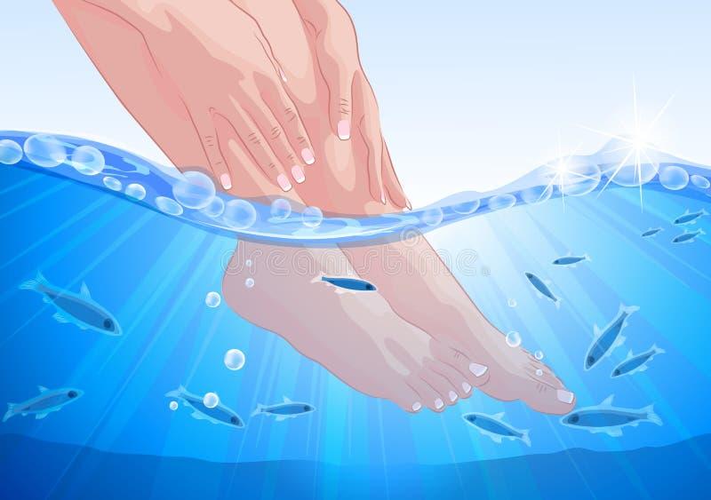 女性脚和手,鱼温泉治疗 皇族释放例证