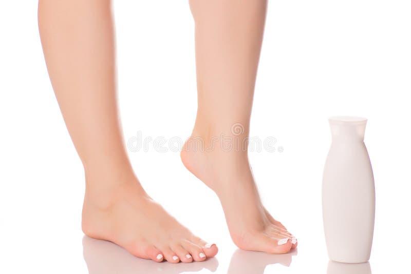 女性脚腿奶油 库存照片
