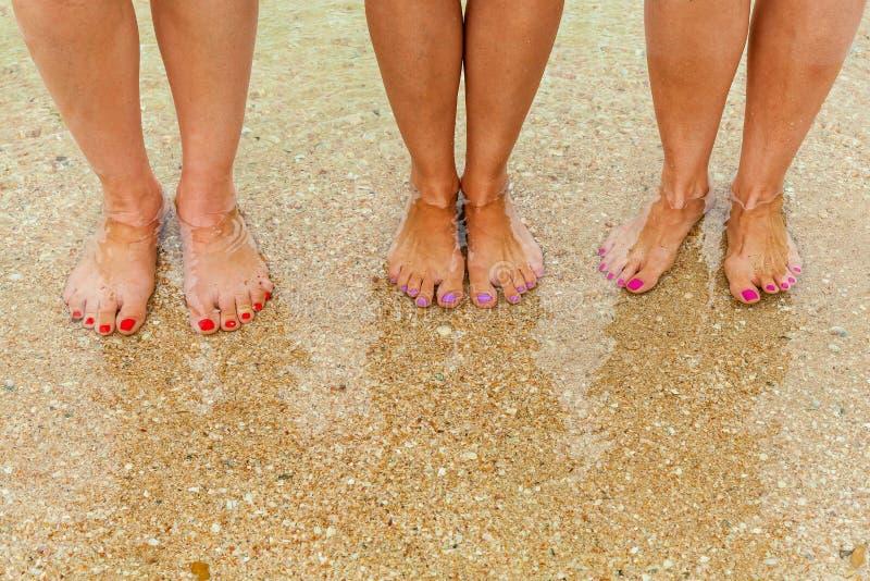 女性腿在清楚的水中 库存图片