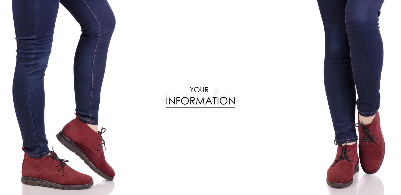 女性腿在牛仔裤和在红色绒面革鞋子时尚美容院购买集合样式 库存照片