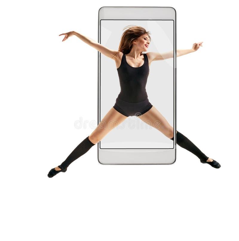 女性舞蹈家跳跃 库存图片