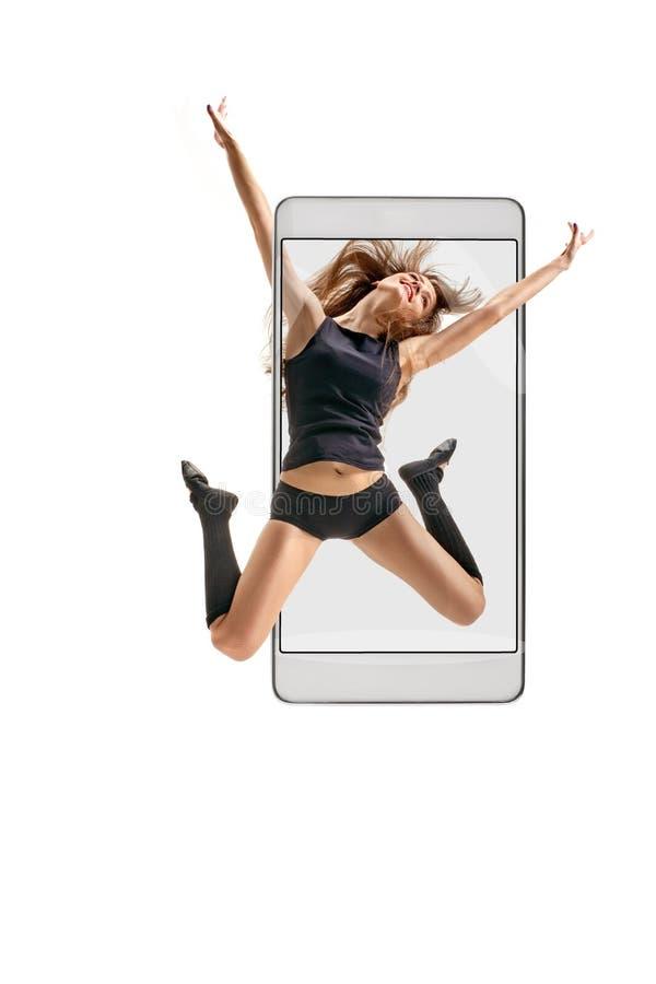 女性舞蹈演员跳 库存照片