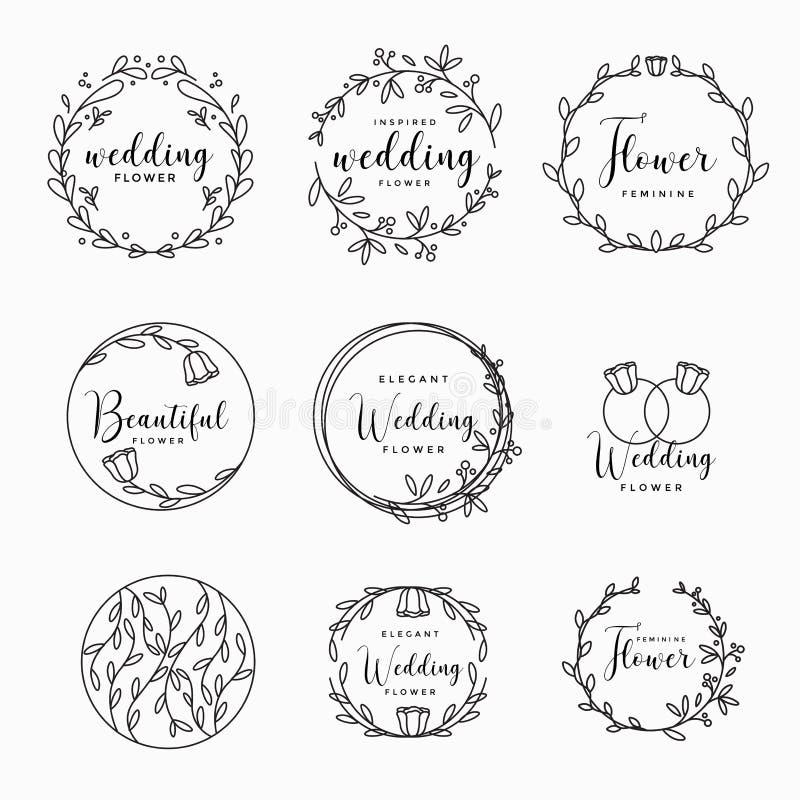 女性花卉婚姻的商标汇集传染媒介例证 皇族释放例证