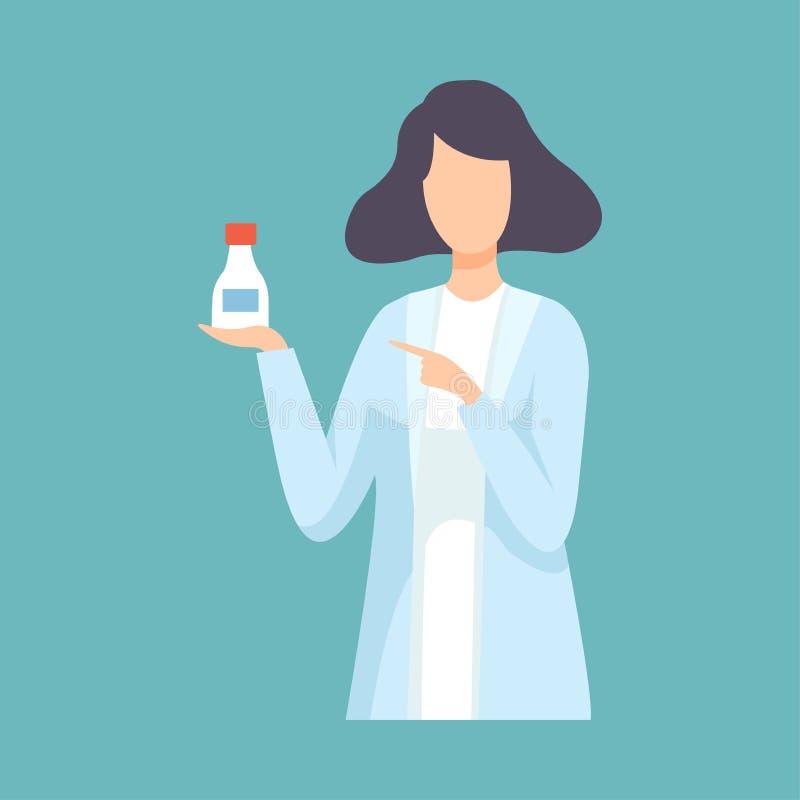 女性药剂师医生Holding Medicine Bottle,在白色实验室外套传染媒介的专业医护人员字符 皇族释放例证