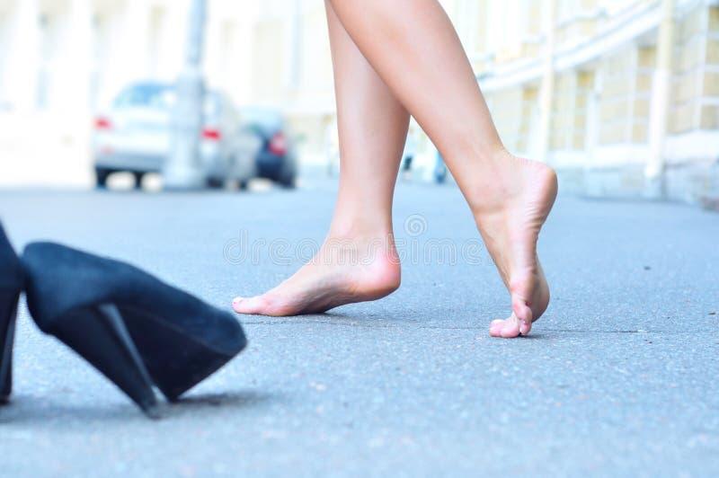 女性赤脚 库存图片