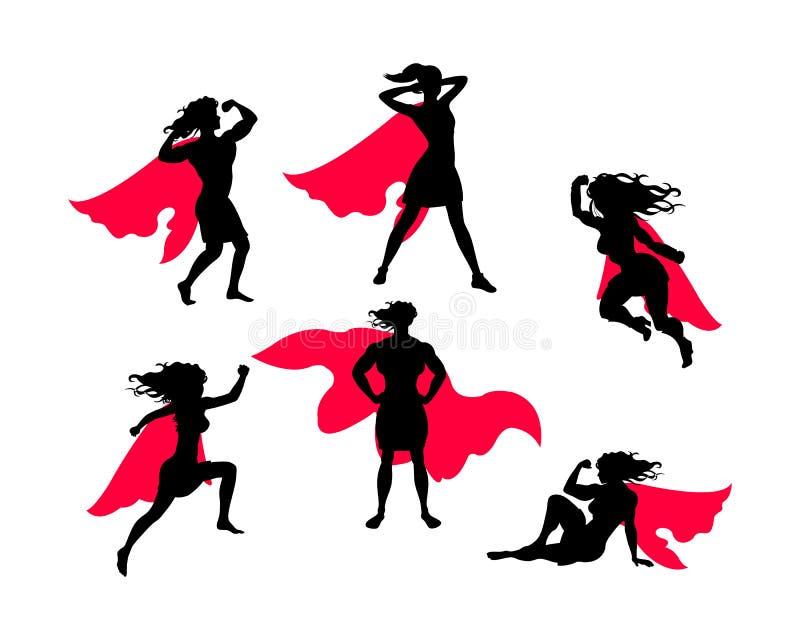 女性超级英雄剪影 向量例证