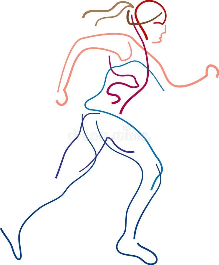 女性跑步 库存例证