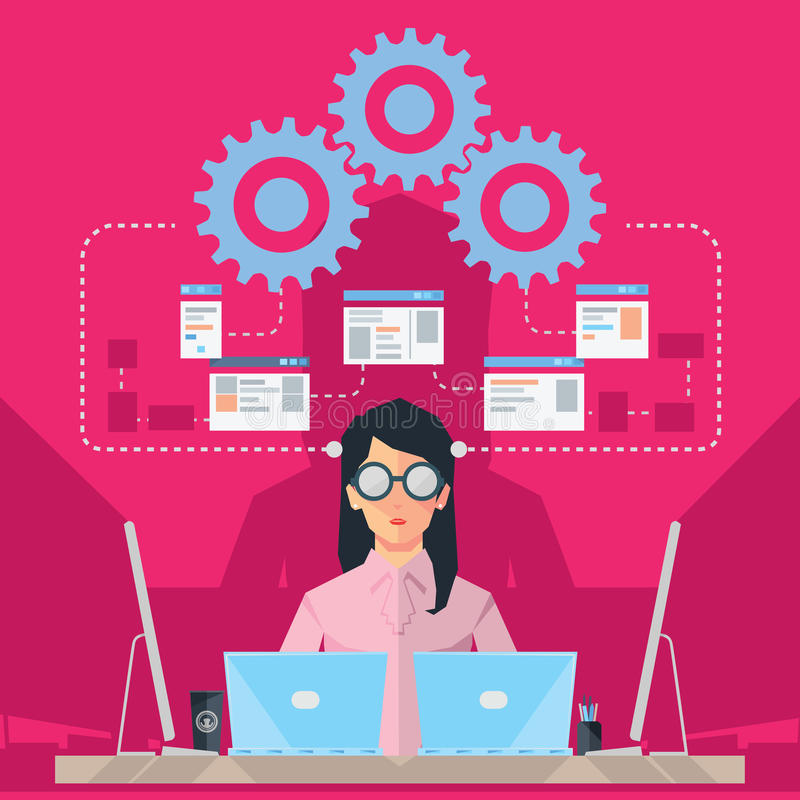 女性软件工程师 库存例证