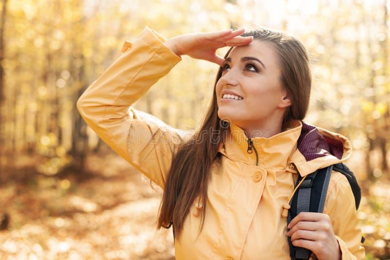 女性远足者 库存照片