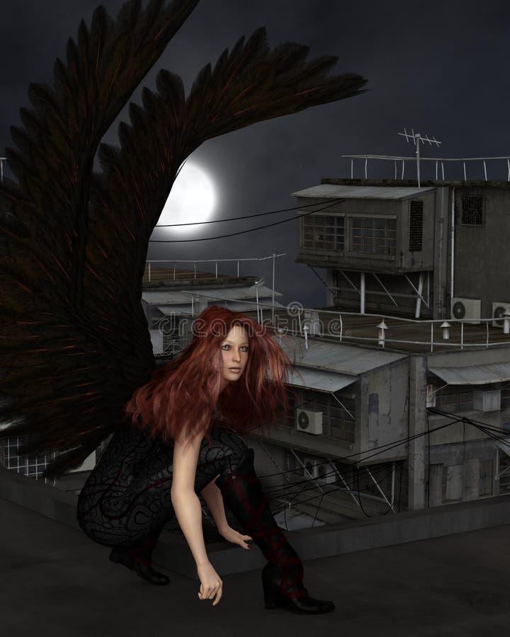 女性都市守护天使,蹲下 库存例证