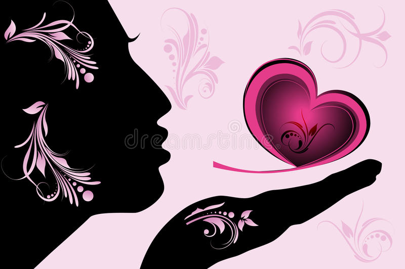 女性重点粉红色剪影 库存例证