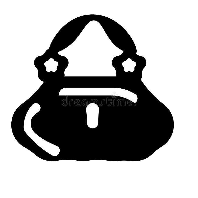 女性钱包象在白色背景隔绝的传染媒介标志和标志,女性钱包商标概念 皇族释放例证
