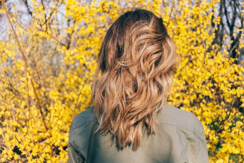 女性长期发型波浪突然移动的背面图 免版税库存图片