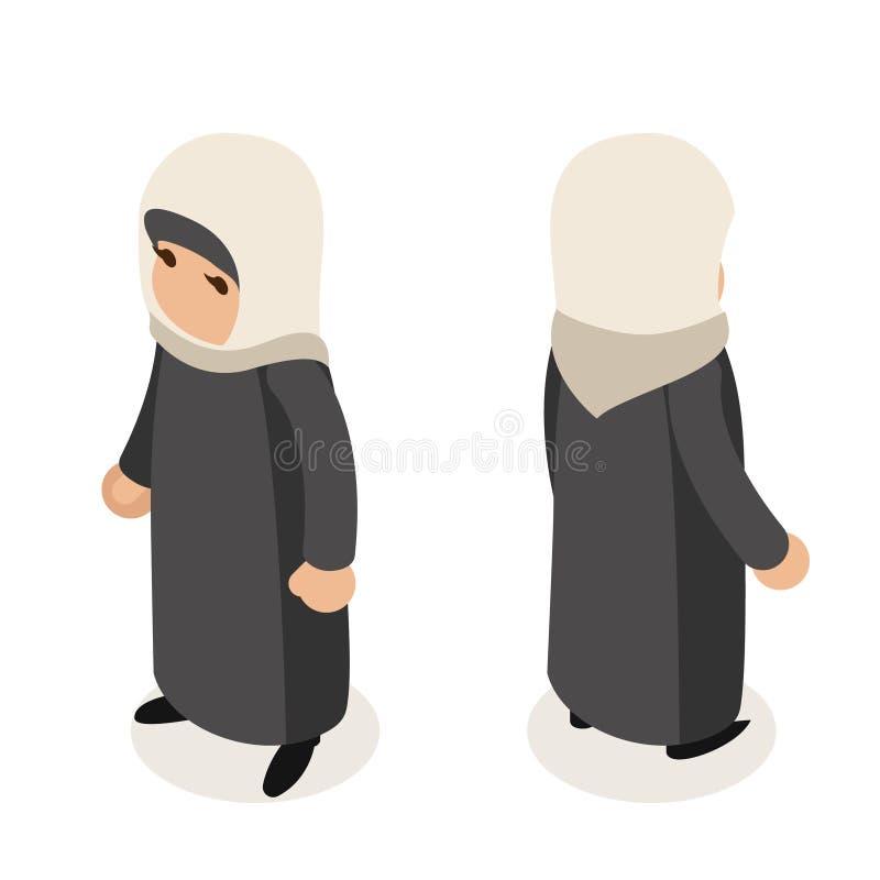 女性阿拉伯女实业家传统全国种族回教妇女衣裳等量被隔绝的字符平的设计 库存例证