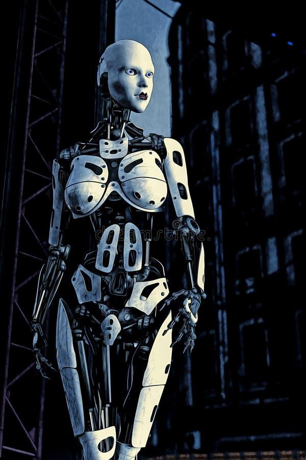 女性靠机械装置维持生命的人机器人例证 向量例证