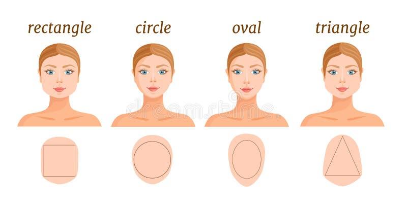女性面孔典型的形状  ?corel?????? 向量例证