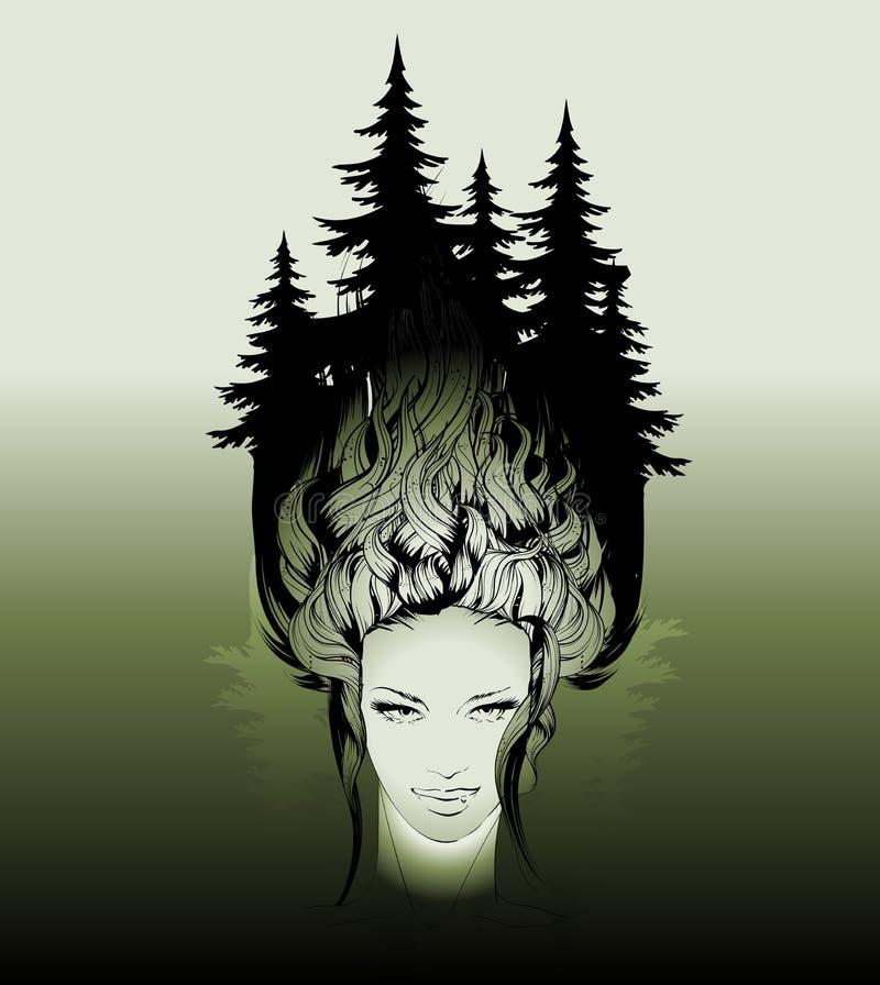 女性面孔和头发有一个生长杉木森林的 向量例证