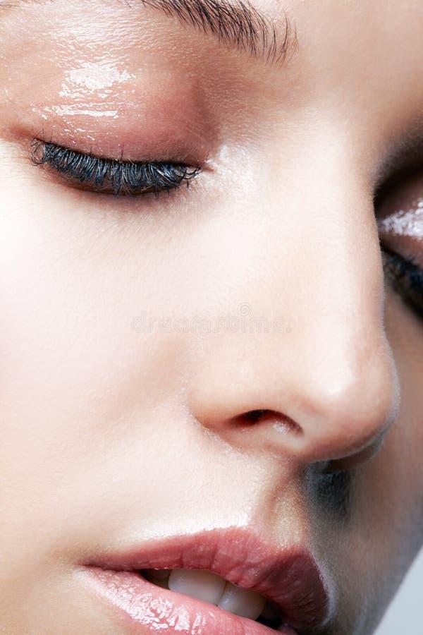 女性面孔和眼睛构成特写镜头宏观射击  库存照片