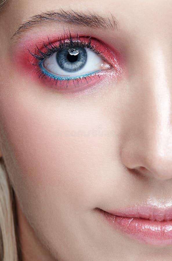 女性面孔和眼睛构成特写镜头宏观射击  库存图片
