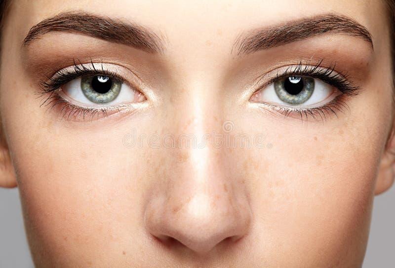 女性面孔特写镜头宏观画象  人的妇女开放眼睛机智 图库摄影