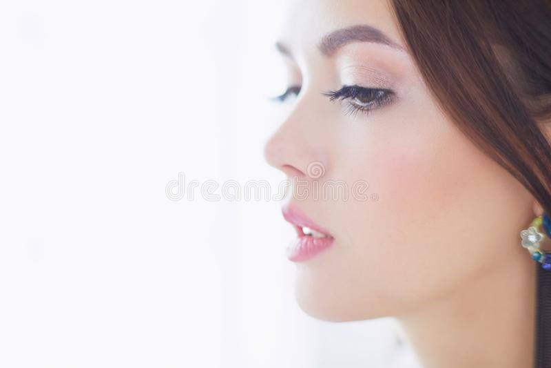 女性面孔秀丽画象与自然皮肤的 免版税图库摄影