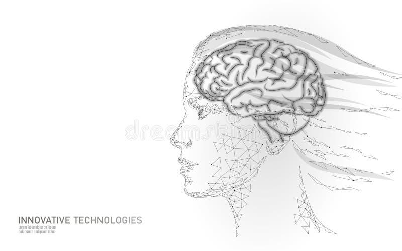 女性面孔脑子创造性突发的灵感 女权主义相等的脑力妇女强的想法 低多多角形少女 库存例证