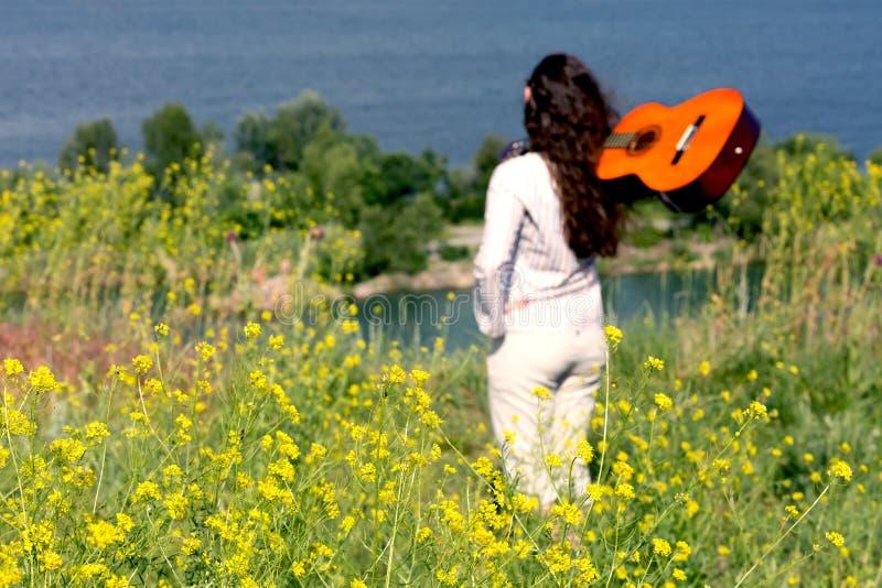 女性音乐家剪影草草甸的 免版税库存图片